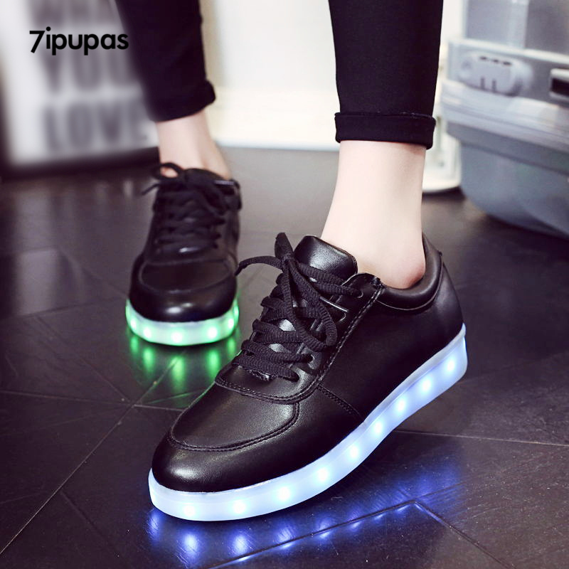 7ipupas Kids Classic Black Glowing Shoes Boys Girls Lace-up Radiative Luminous In Night Sneakers Unisex Lovers Led Lights Shoes