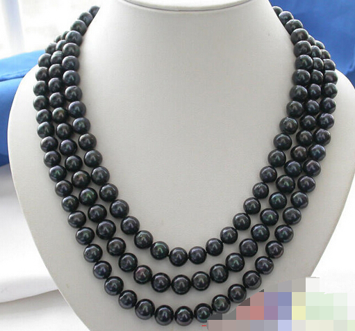 FREE SHIPPING>>> 3row 9-10mm black ROUND FRESHWATER CULTURED PEARL NECKLACE