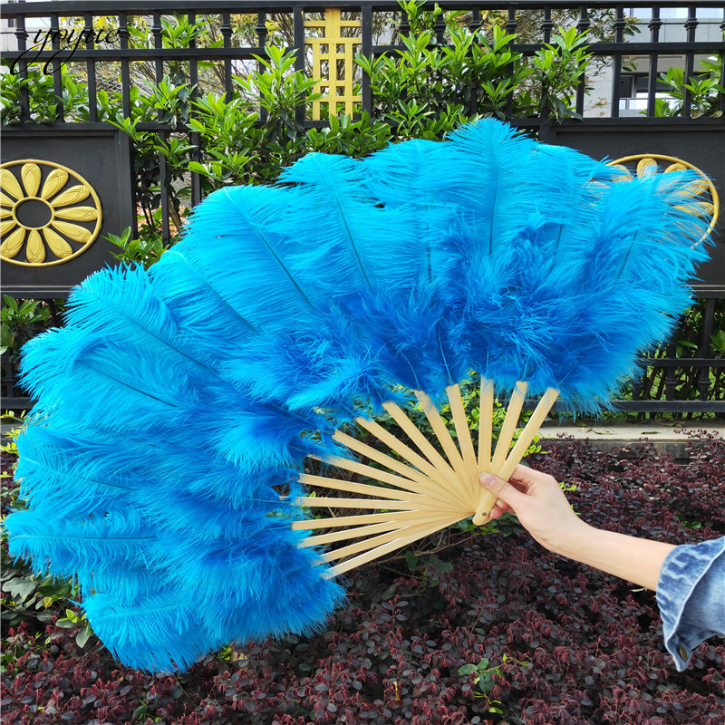 Image 4 - YOYUE 15 Bone Ostrich Feathers Fan Halloween Party Wedding  Celebration Belly Dance Show DIY Decorative Pink Feathers FanFeather