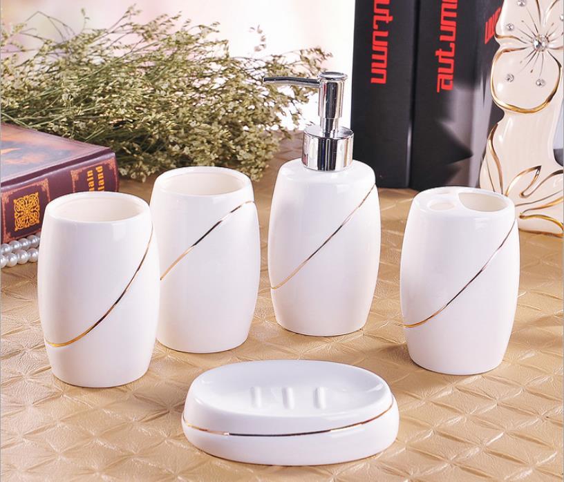 Ensemble d'accessoires en céramique de salle de bain | Porte-dent et anneau de savon, distributeur de vaisselle, tasse blanche cadeau parfait 5 pièces