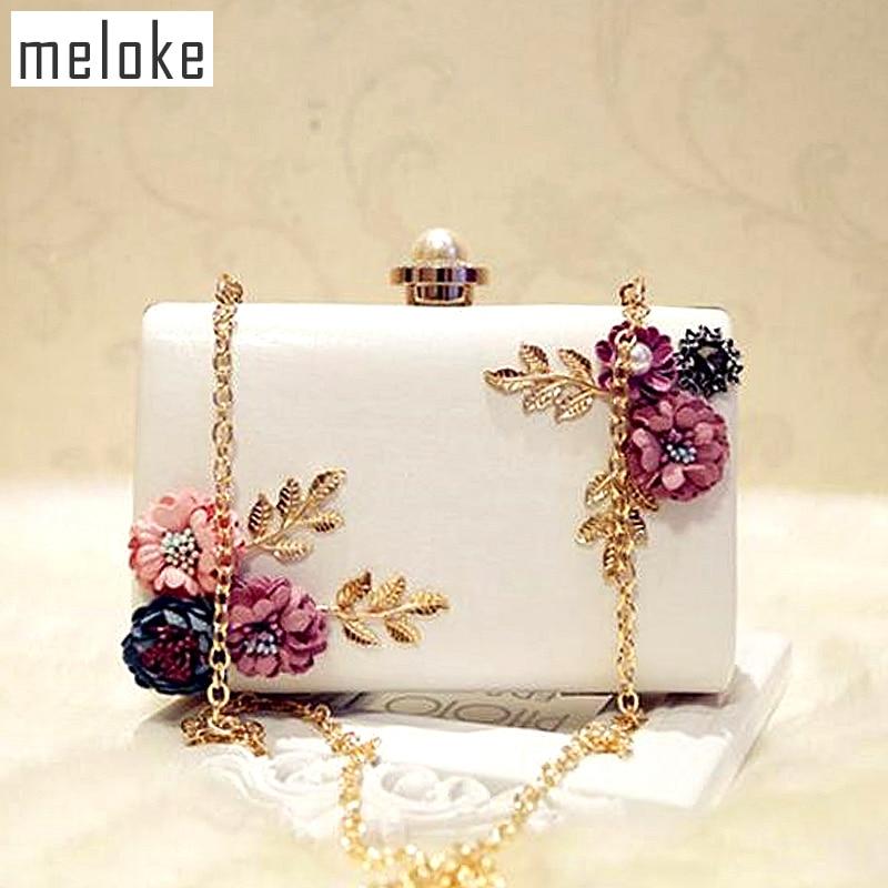 Meloke 2019 high quality women handmade flowers evening bags mini wedding  dinner bags luxury clutch purse 96d1fba30985
