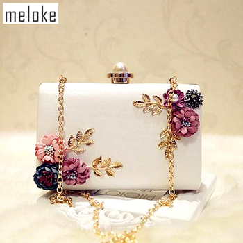 Meloke 2018 high quality women handmade flowers evening bags mini wedding dinner bags luxury clutch purse with 2 chains