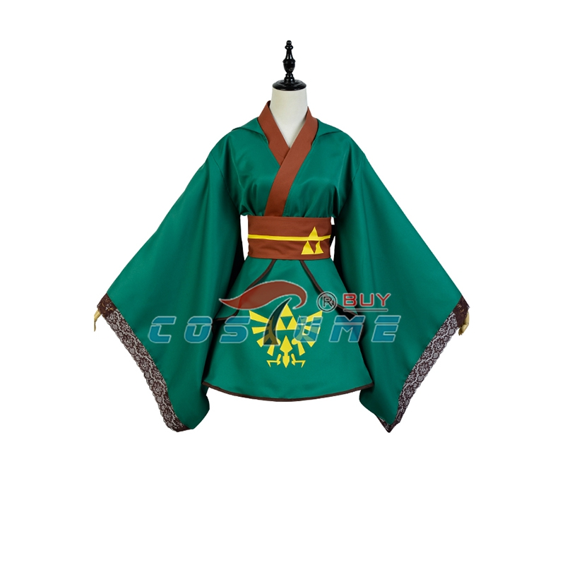 The legend of Zelda Link Cosplay Costume Hero Yukata Kimono Robe Green Version
