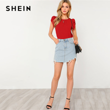 SHEIN Red Pleated Petal Sleeve Top Women Clothing Round Neck Short Sleeve Plain Blouse 2018 Summer New Casual Blouse