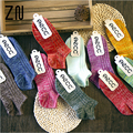 Harajuku Autumn Winter Women Ankle Socks Candy Color Flake Yarn Knitted Cotton Socks Female Fashion Retro Anklet