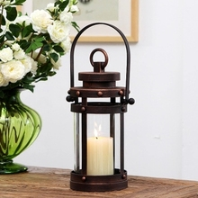 Retro nostalgic wrought iron creative candlestick portable wind lamp American cafe bar table decoration home