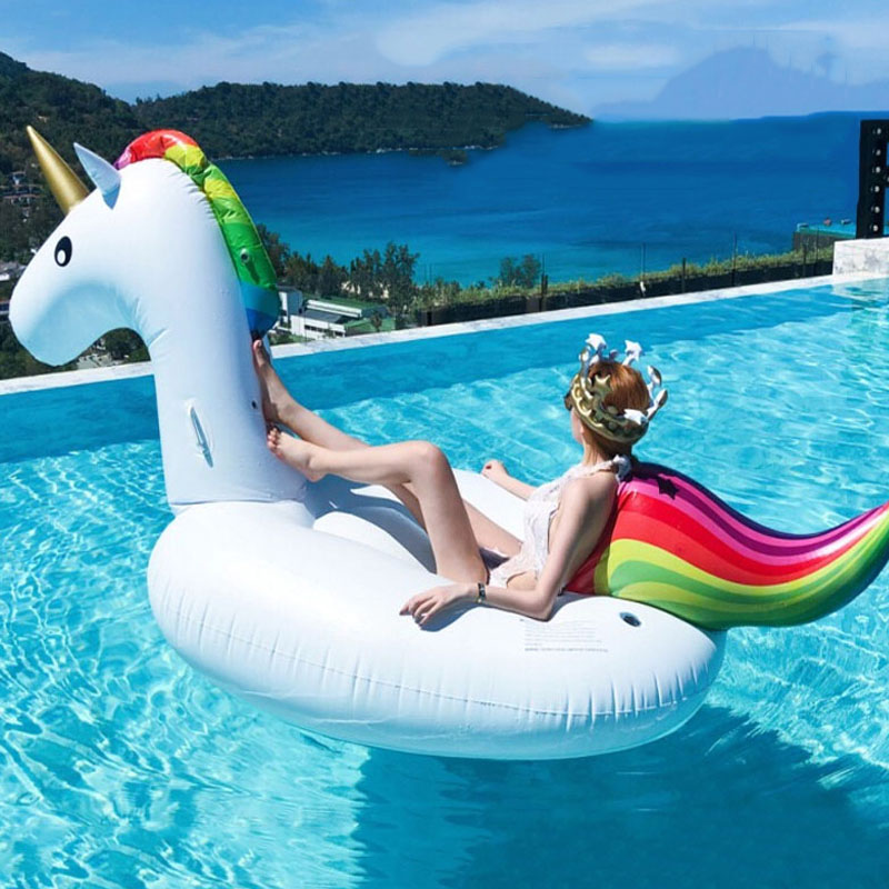 200cm Giant Inflatable Unicorn Pool Float Tube Raft Swimming Ring Pool Toys Water Bed Circle Boia