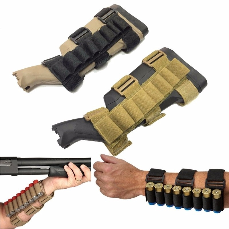 CQC Military Tactical 8 Rounds 12/20 Gauge CartridgRifle Buttstock Ammo Shell Carrier Shotshell Holder Arm Pouch Hunting Mag Bag
