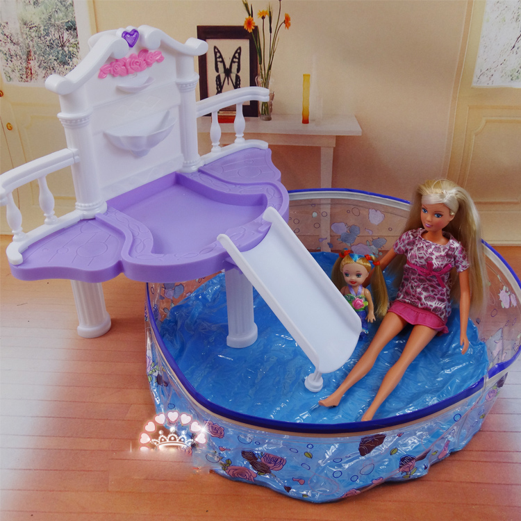 Doll's Swimming Pool Set / Dollhouse Furniture Puzzle Baby Toy Accessories Decoration Original Box for Barbie Kurhn Doll