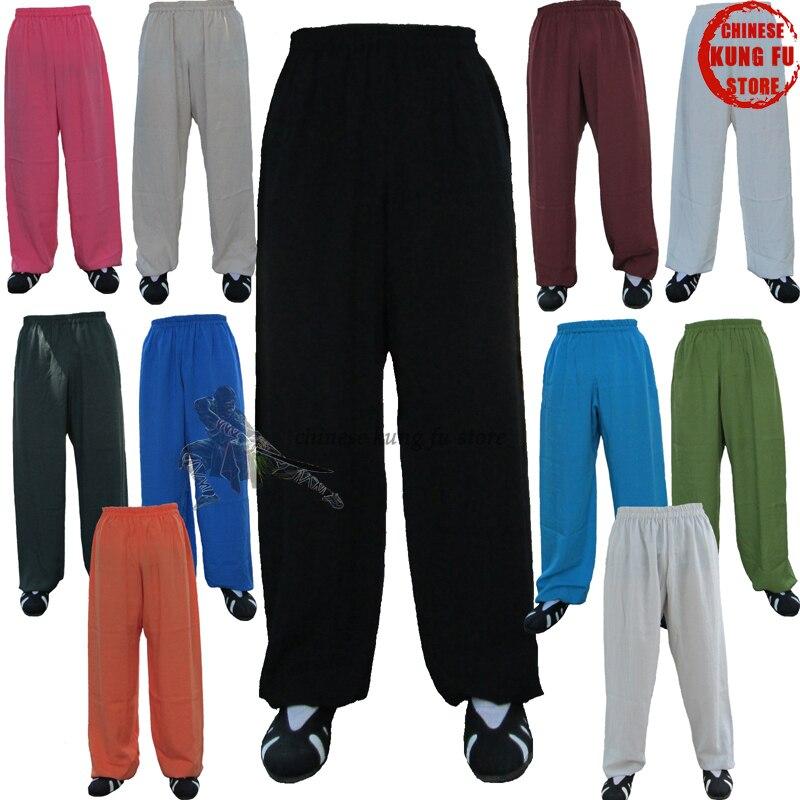 Подгоняйте 24 цвета Льняные Tai Chi Kung fu Боевые искусства брюки Wushu крыло Chun брюки