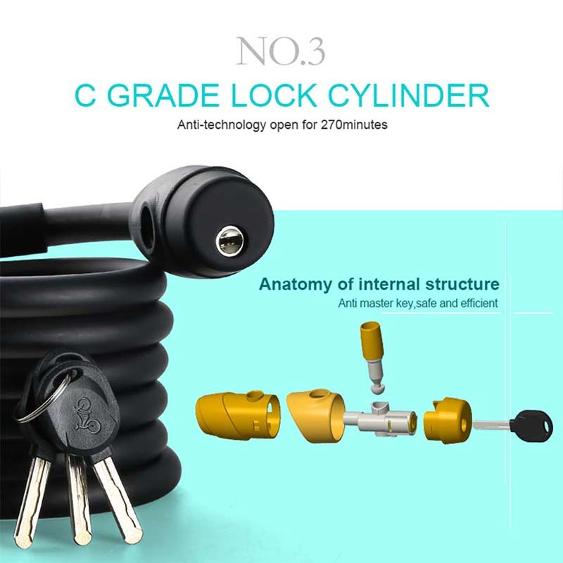 Bicycle Cable Lock Heavy Duty Security Locks Steel Cable Chain 1 8m/1 4m  Anti-Theft Password Combination Bike Motorcycle Lock #243396