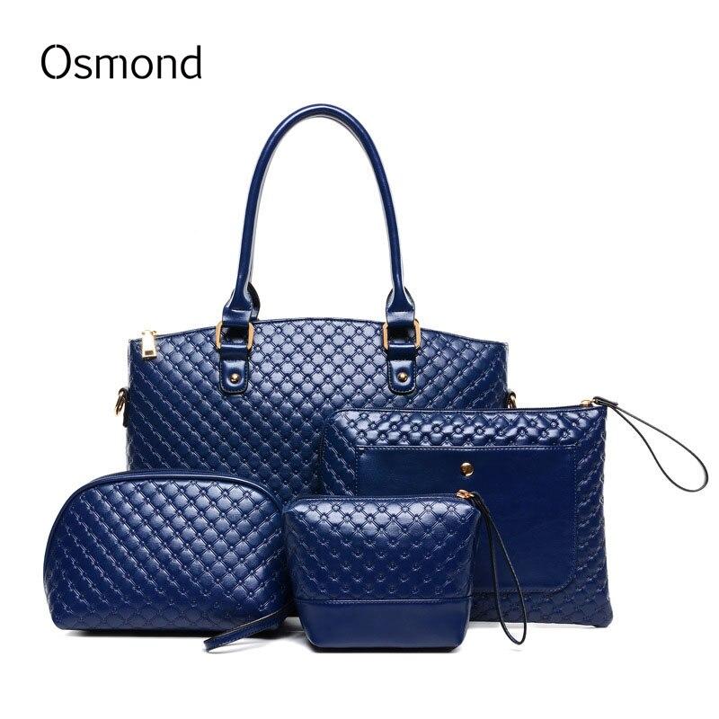 ФОТО Osmond women Leather handbag 4 sets vintage Check tote bag Large capacity shoulder bags ladies purses and handbags