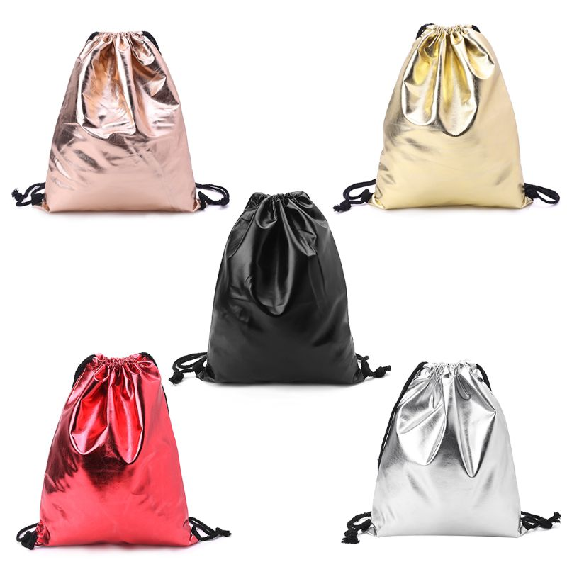 Waterproof Drawstring Backpack Bag PU Leather Women Sport Gym Sack Cinch Bags