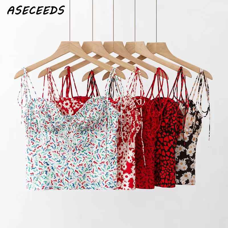 Summer tops 2019 Boho red heart print crop top women sexy backless cami top punk streetwear spaghetti strap tank tops korean