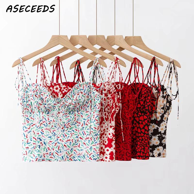 Sommer tops 2019 Boho rot herz print crop top frauen sexy backless cami top punk streetwear spaghetti strap tank tops koreanische