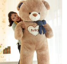 "huge new plush ""hello"" teddy bear toy big fat brown colour bow teddy bear doll gift about 150cm"