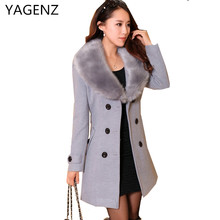YAGENZ Woolen Winter Coat Women Clothing 2018 New Fashion Slim Fur Collar Female Jacket Matching Belt Double Breasted Matching(China)