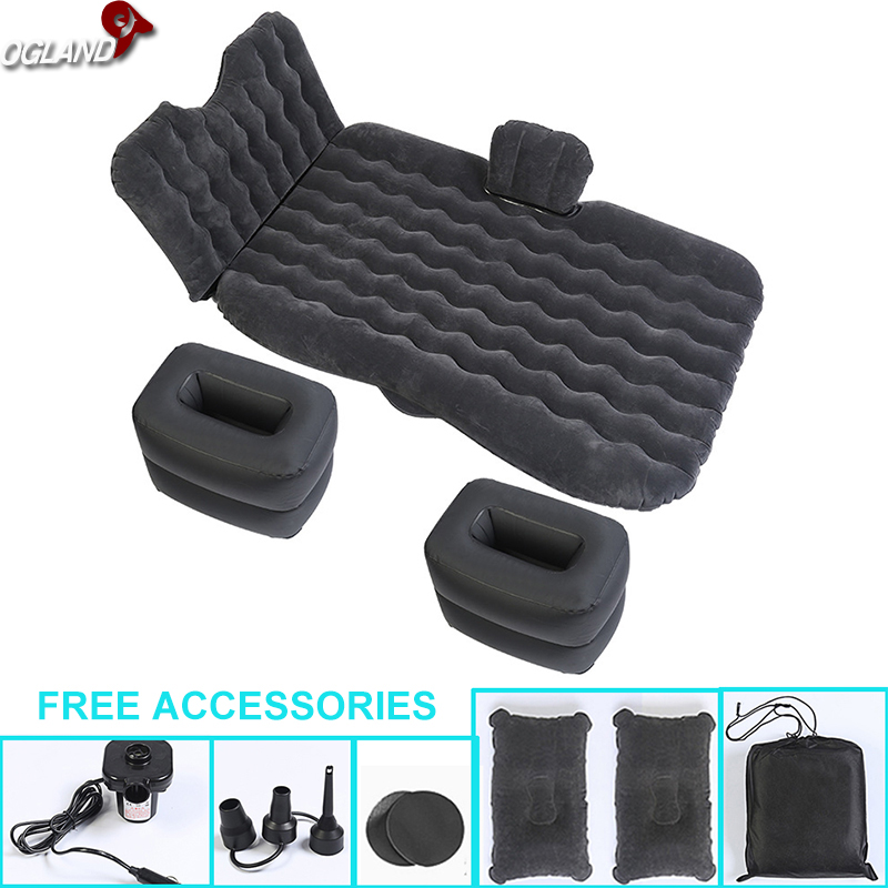 OGLAND Universal Car Back Seat Cover Air Inflatable Travel Bed Mattress For Vehicle New Design Sofa Outdoor Camping Cushion durable thicken pvc car travel inflatable bed automotive air mattress camping mat with air pump