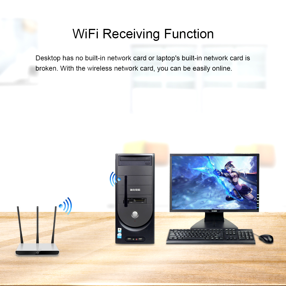 Image 2 - High Speed USB Wireless Adapter 150Mbps 2db Antenna Wifi Rceiver Transmitter USB Dongle Wireless 802.11b/n/g for laptop computer-in Wireless Adapter from Consumer Electronics