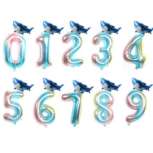 2pcs 32inch Blue 0-9 Foil Number baby shark party Birthday Balloons birthday decorations kids Shark Decoration