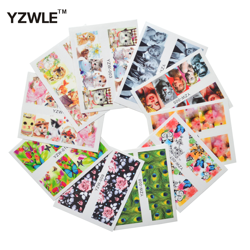 YZWLE 10 Sheets DIY Decals Nails Art Water Transfer Printing Stickers Accessories For Manicure Salon yzwle 30 sheets diy decals nails art water transfer printing stickers accessories for nails
