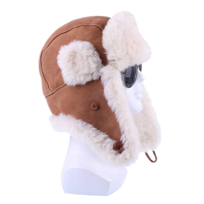 9563245f97aed2 Winter Bomber Hats Genuine Sheepskin Leather Russian Ushanka for Men Women  Natural Sheep Fur Warm Suede