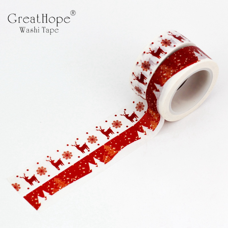 2PCS Washi Tapes Christmas Tree Reindeer Japanese Paper DIY Planner Red Masking Tape Adhesive Tapes Stickers Decor Stationery