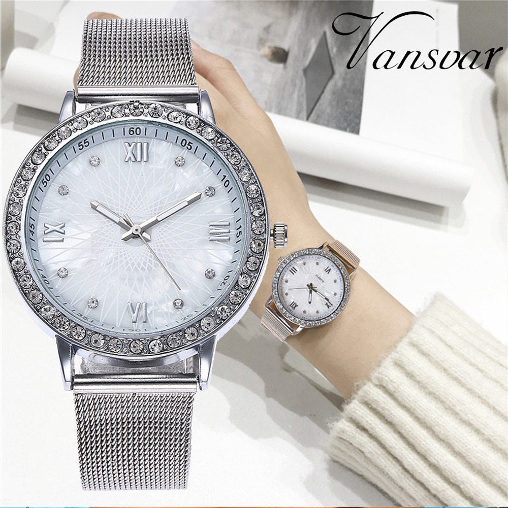 Vansvar Brand Women Watches Luxury Rhinestone Roman Numerals Dress Ladies Watch Casual Mesh Belt Quartz WristWatch Kol Saati #W