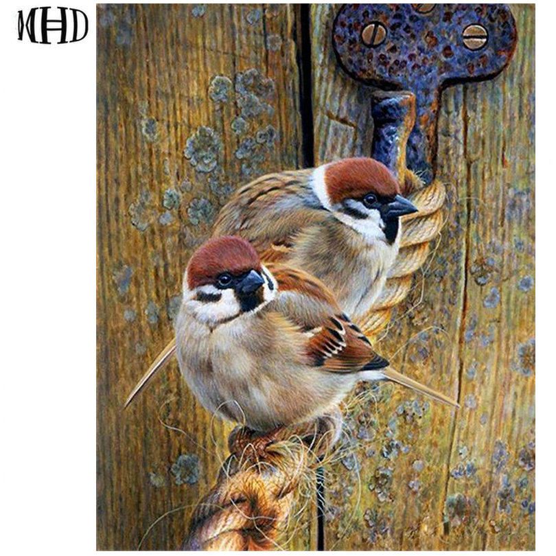 Punctual 5d Diy Diamond Painting Animals Cats And Birds Furniture Decoration Resin Round Drill Embroidery Needlework Mosaic Bedroom Gift Year-End Bargain Sale Needle Arts & Crafts