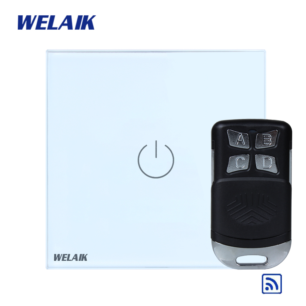 WELAIK Glass Panel Switch White Wall Switch EU remote control Touch Switch Screen Light Switch 1gang1way AC110~250V A1913W/BR01 2017 free shipping smart wall switch crystal glass panel switch us 2 gang remote control touch switch wall light switch for led
