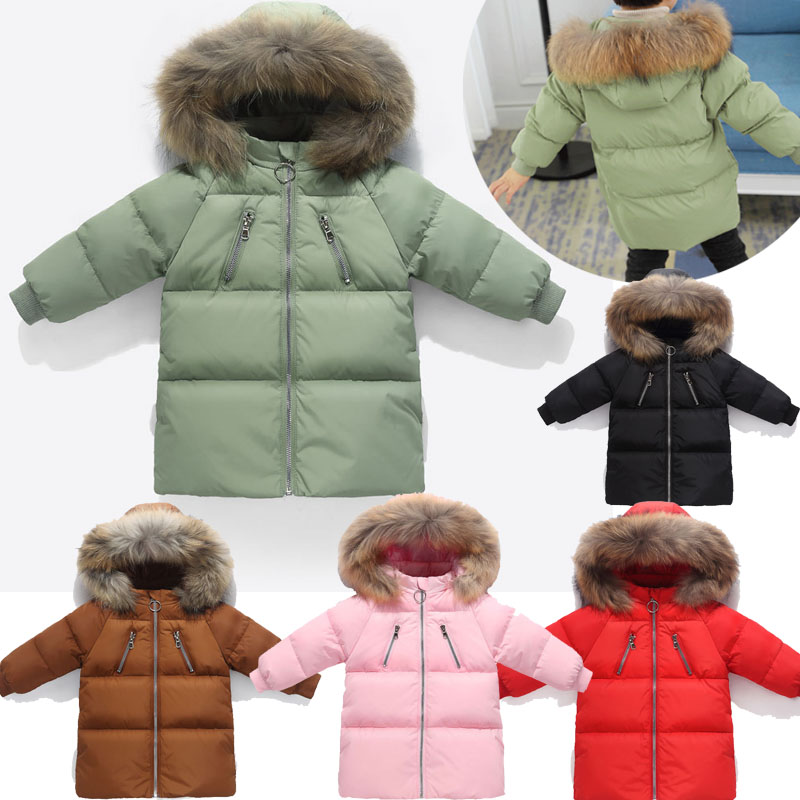 High quality children's down jacket Warm Plush collar down jacket children's wear, 2-6 year old boy and girl warm winter coat middle aged and old men s suit jacket wool blended winter fashion classic coat pure color warm suit jacket high quality