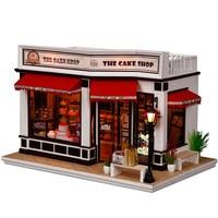 Miniatura Pastelería Europea Craft Modelo De Madera Muebles de casa de Muñecas Kit de Luz Decoración Casera DIY Casa de Muñecas de Regalo de Navidad de Cumpleaños