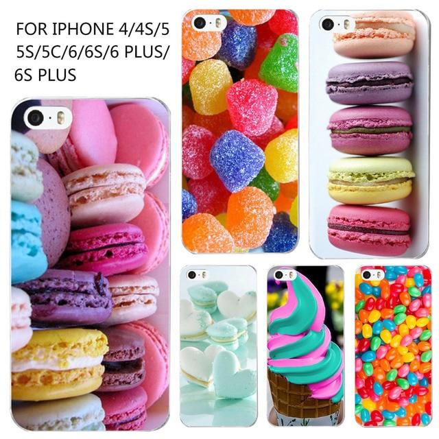 Phone Case For iPhone 4 4s 5 5s SE 6 6 s мода Жесткого Пластика Красочные Десерт Мороженое Macarons Стили Hard Cover