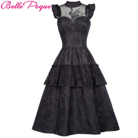 Belle Poque Victorian Dresses Women Summer Black Lace Sleeveless Ruffles Retro Robe 50s Rockabilly Punk Gothic Dress For Party