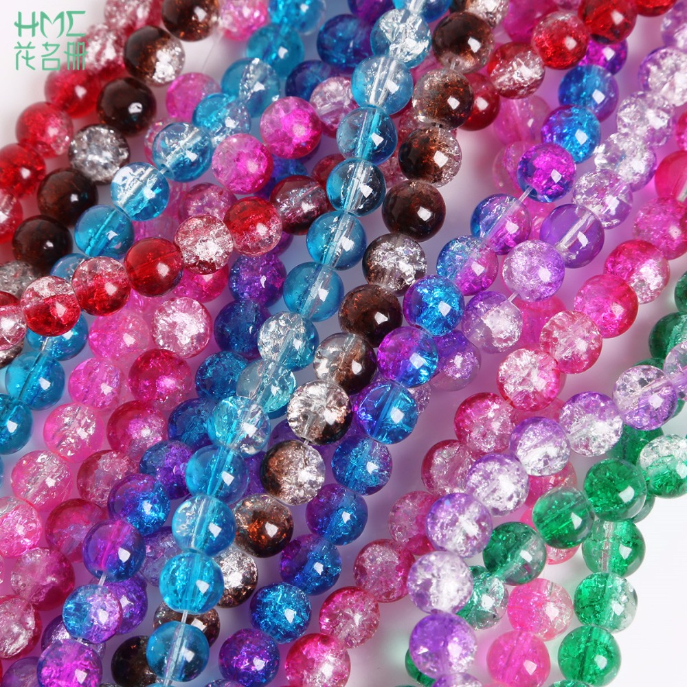 Loose Charm 50pcs Crackle Art Crystal 6MM Glass Round Beads Jewelry Making