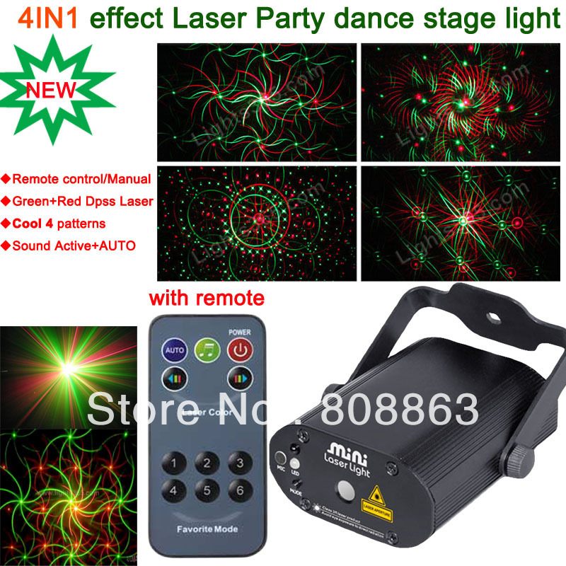 New Model 4 Patterns laser projector Remote G&R Laser Stage lighting disco Dance Birthdays Home Party DJ Light Show system d42 mon hot sale projector dj disco light mp3 remote stage party christmas laser lighting show