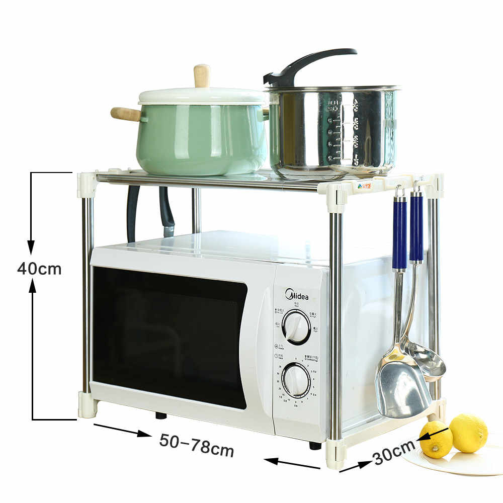 BYN Home 430 stainless steel microwave oven shelf kitchen tools pot organizer length telescopic adjustable storage rack DQ0826C
