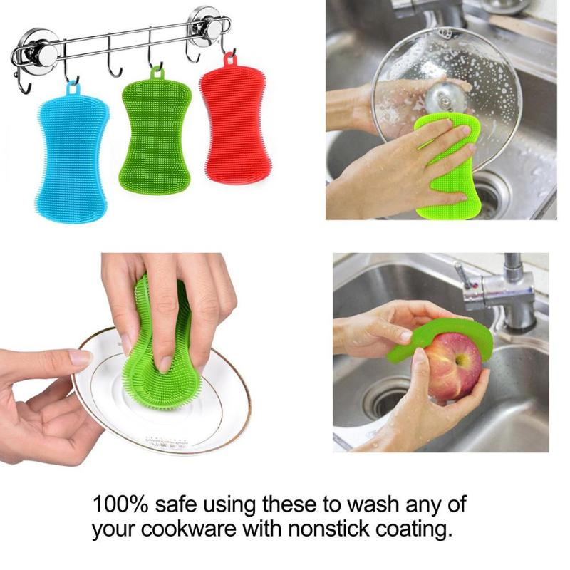 Image 2 - Silicone Dish Washing Brush Pot Pan Clean Scrubber Kitchen 