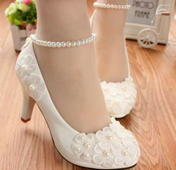 MIDDLE/LOW/HIGH HEELS white pumps shoes with lace flowers cheap low price, bridal pearls anklets party pumps, TG005 women's shoe