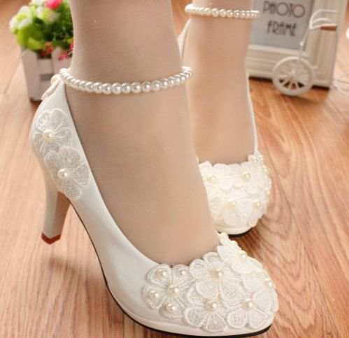 Online Shop MIDDLE LOW HIGH HEELS white pumps shoes with lace flowers cheap  low price 7ca90bb69c59