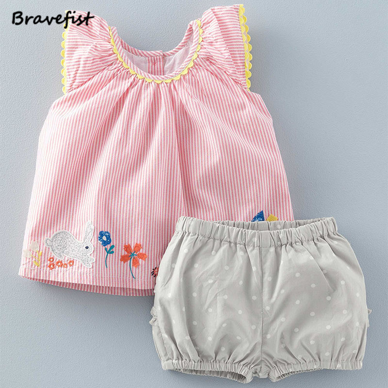 Wholesale 2-7Y Summer Baby Girls Clothes Set Floral Sleeve T-shirts+Dots Shorts Pink Children Clothing Set Fashion Kids Tops