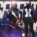 2016  Soldier 76 Cosplay OW Game Hero Jacket Soldier 76 Jacket Costume Full Set with Boots Halloween Clothing