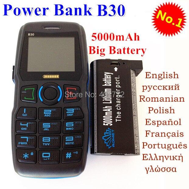 Оригинал ADMET B30 Power Bank Мобильный Телефон Длительным Временем Ожидания Громкий Звук Мобильного Телефона Старик Люди Старший Телефон H-мобильный B30