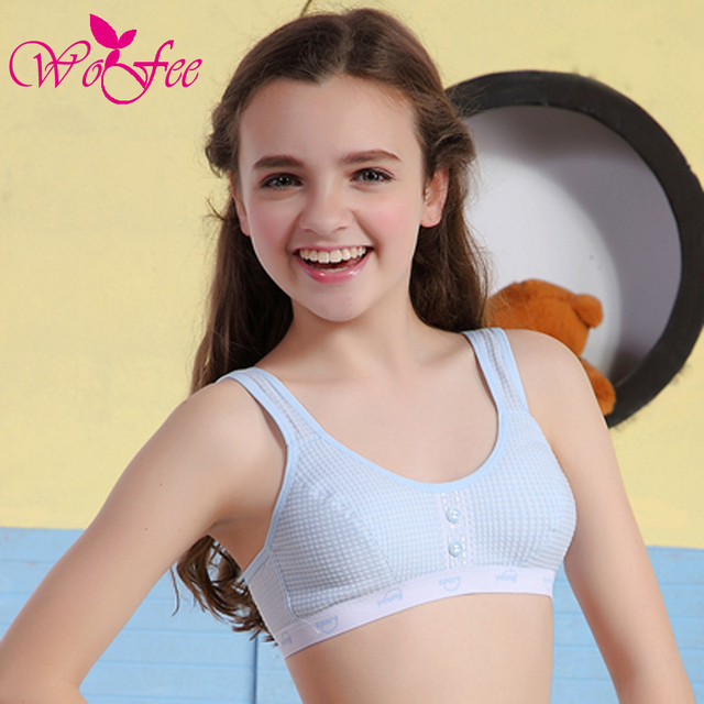 3f0e444f39e WoFee Young Girls One-Piece Thin Cotton Breathable Sleeping Bras With Three Back  Hooks B1173