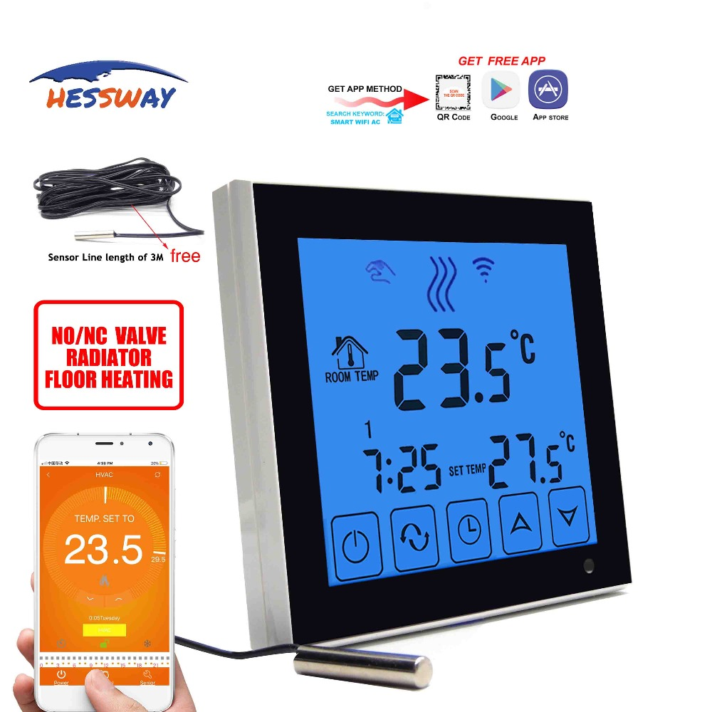HESSWAY Mobile sensor smart wifi thermostat Normally closed Normally open for Water Floor Heating System 3AHESSWAY Mobile sensor smart wifi thermostat Normally closed Normally open for Water Floor Heating System 3A