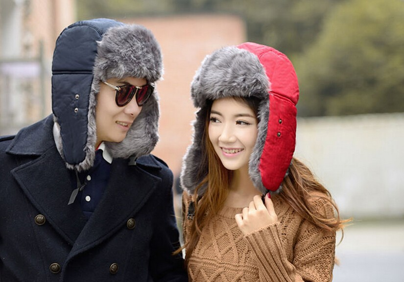 2015 New Men Women Winter Warm Bomber Hats Caps Russian Trapper Aviator Trooper Earflap Outdoor Sport Snow Ski Hat Cap (13)