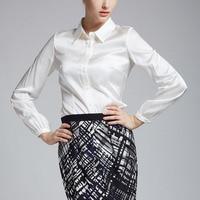 Autumn women shirt silk satin silk long sleeve slim shirt white collar ol work wear fashion top