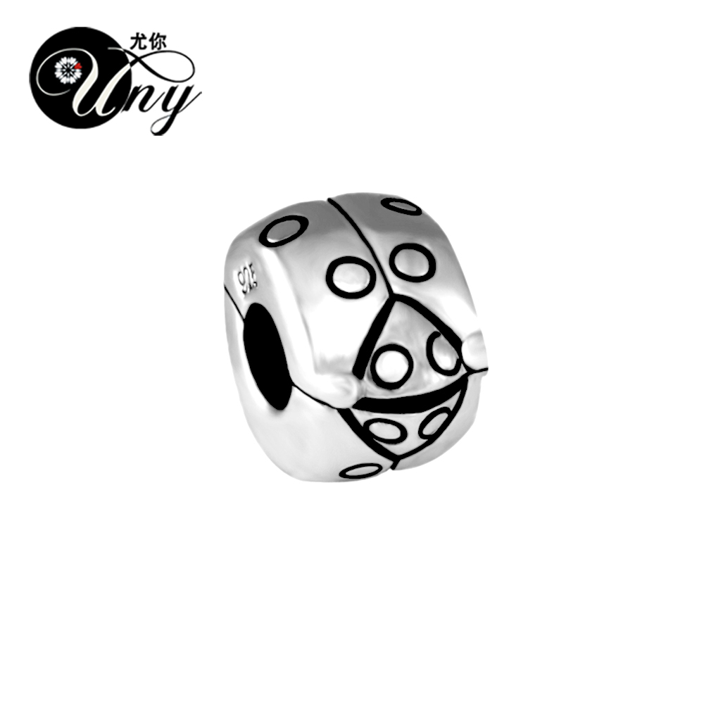 UNY Unique Vintage DIY Beads European bead Fit Pandora charm bracelet 925 Silver Beads Lady Bugs Stopper Bead Fit Pandora Charms