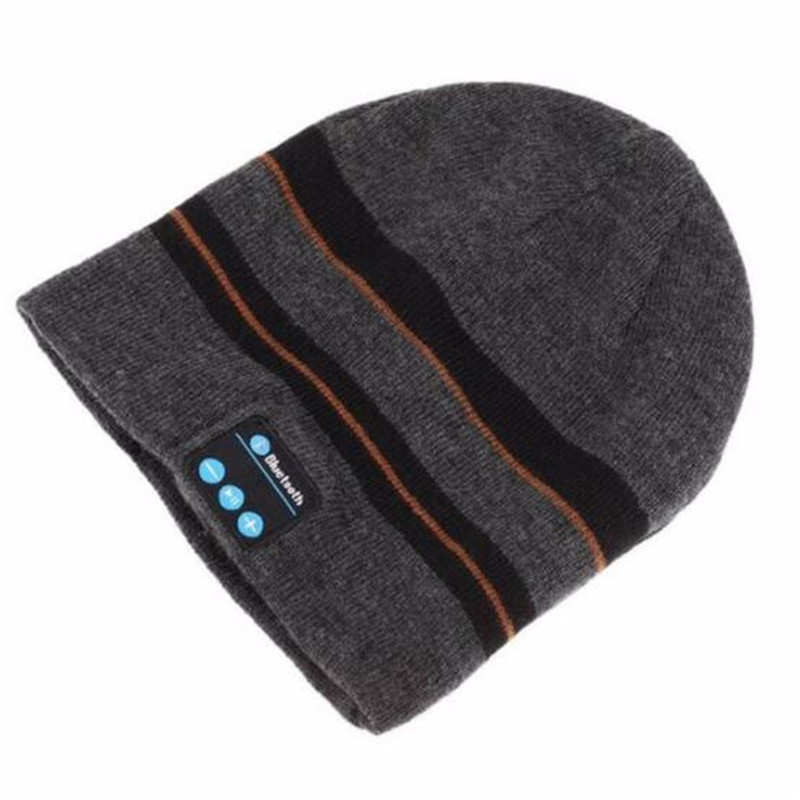 Wireless Bluetooth 3.0V Beanie Knitted Stripes Winter Outdoor Running Hat Headset Mic Headphone Music Headbands Sport Smart Cap