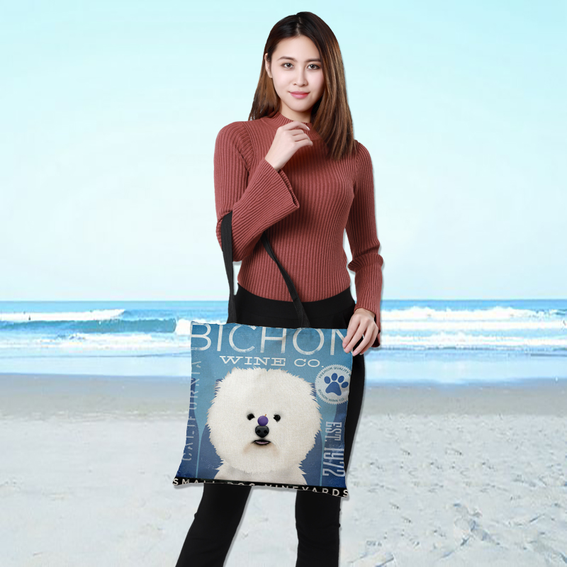 Customized Ladies Shopping Linen Bag Shoulder Bag Double-sided Printing Animal Text Dog Pattern Reusable Folding Leisure 43*43cm